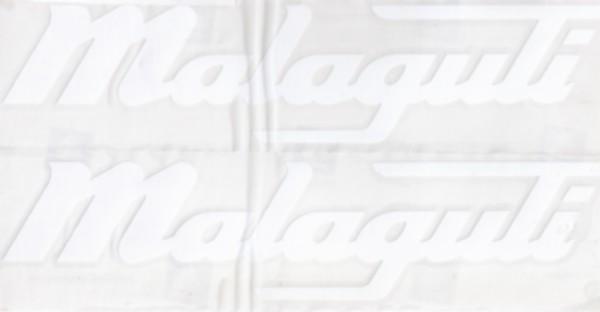sticker malaguti woord [malaguti] wit 2-delig