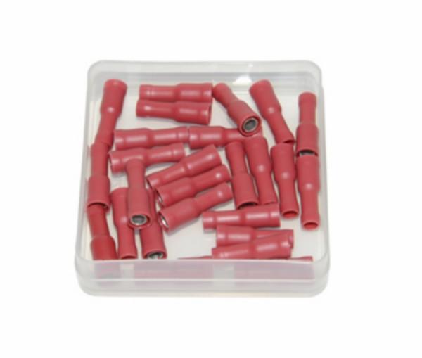 kabelstekker rond vrouw 4mm rood 25pcs
