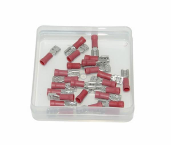 kabelstekker plat vrouw rood 4.8mm 25pcs