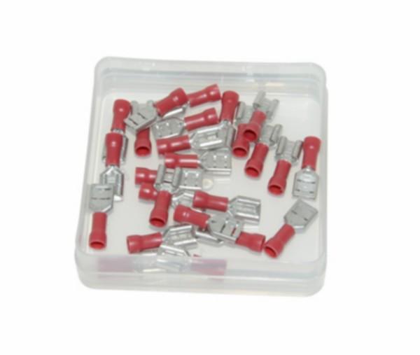 kabelstekker plat vrouw 6.3mm rood 25pcs