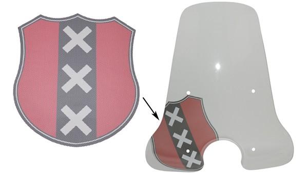 sticker univ logo windscherm wapen amsterdam rood/zwart