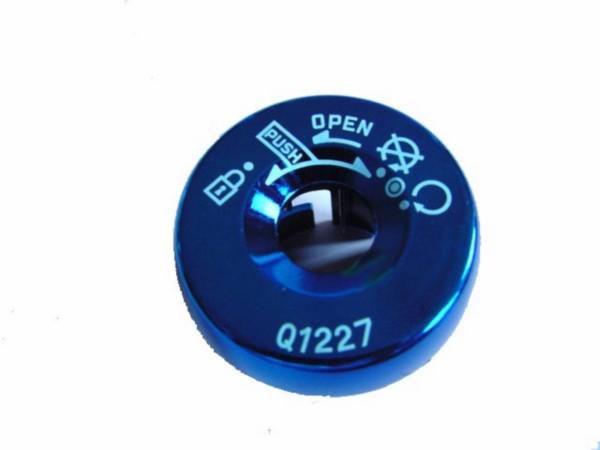contactslot huls kapje on/off Yamaha aerox blauw chroom DMP