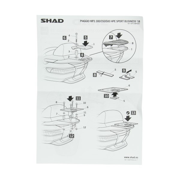 achterdrager topkoffer (vanaf 2018) mp3 shad